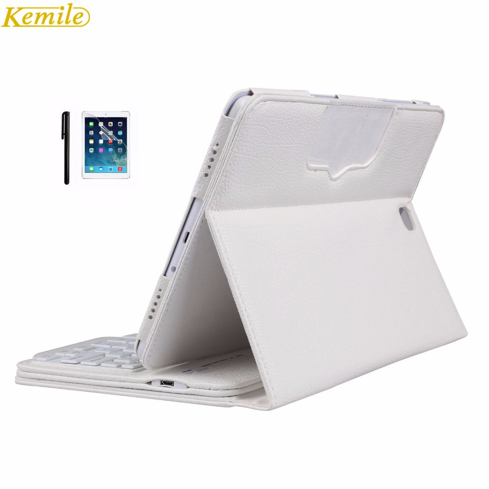Kemile Removable Wireless Bluetooth Keyboard Portfolio Leather Stand Case Cover for Samsung Galaxy Tab A 9.7 T550 Tablet universal removable wireless bluetooth keyboard pu leather case cover stand for 7 8 inch tablet pc with free stylus