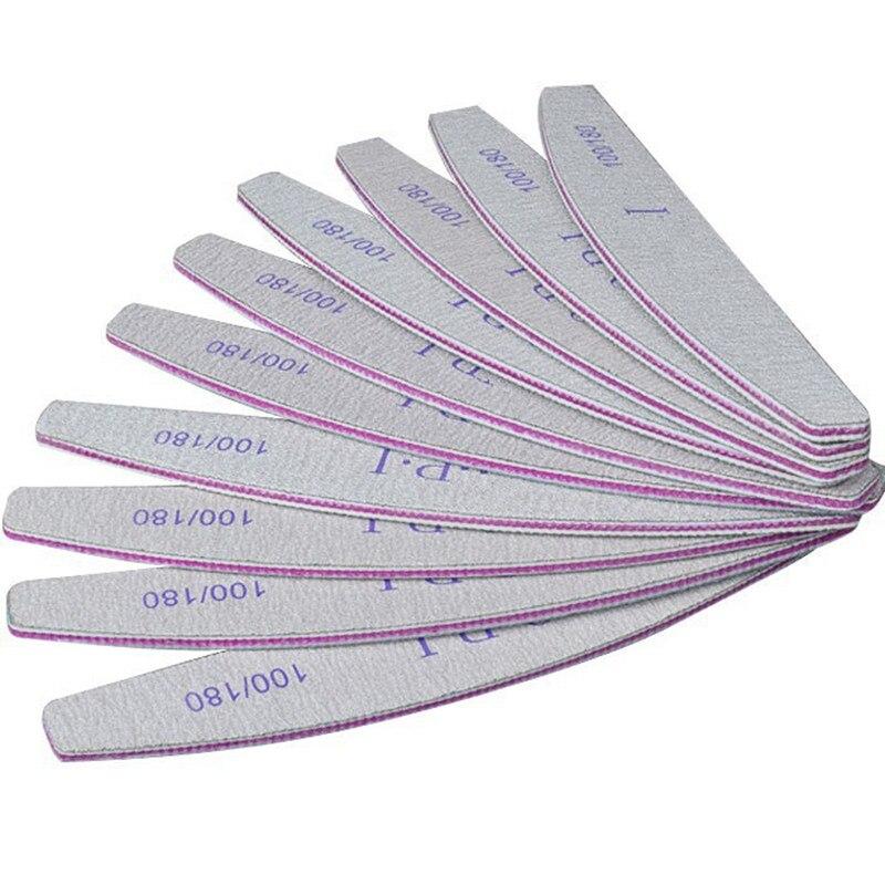 10 PCS 100/180 Nail Files Block Buffer Pedicure Manicure Half Moon Sandpaper Nail Sanding Limas Nail Files Filers For Nails Gel
