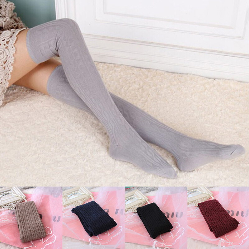 2019 Woman Lady's Wool Braid Over Knee Socks Warm Winter Solid Color Wild Sock Thigh High Socks