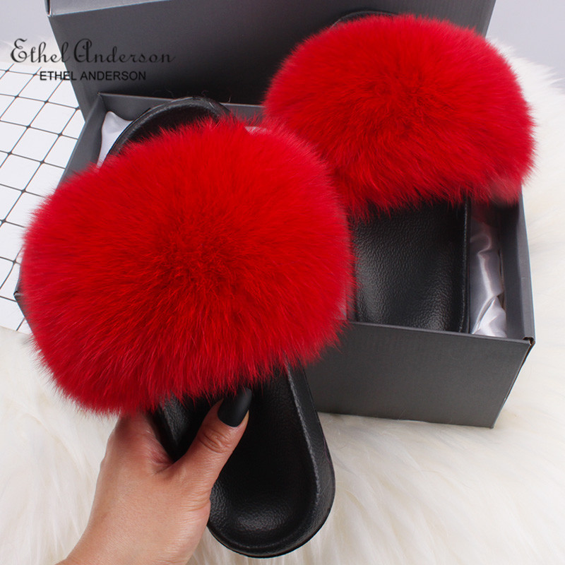 Hot DealsFur Slippers Shoes Flip-Flops Slides Flat Sandals Raccoon-Fur Fox Ethel Anderson Summer