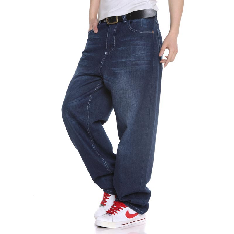 Plus Size Hip Hop Baggy   Jeans   Men Straight Loose Fit   Jeans   For Men Dark Blue Denim Pants Large Size 38 40 42 44 46