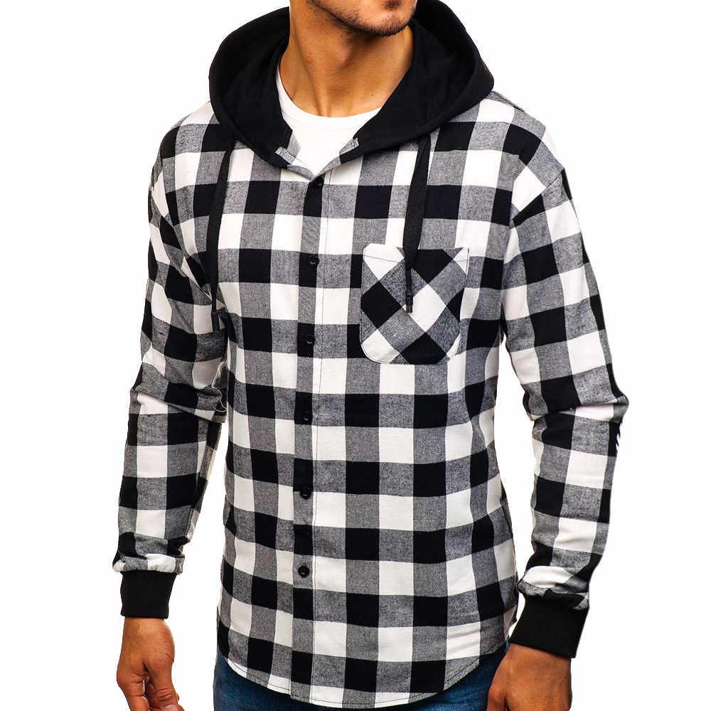 Feitong Männer Herbst Winter Plaid Sweatshirts Kausal Langarm Pullover Tops Mit Kapuze Sweatshirt Hoodies Pullover 2019 Mode