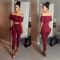 Solid Off Shoulder Summer Ladies Two Piece Set Ruffles Slash Neck Strapless Short Tops Women Elegant Sexy Party Suit Clothing
