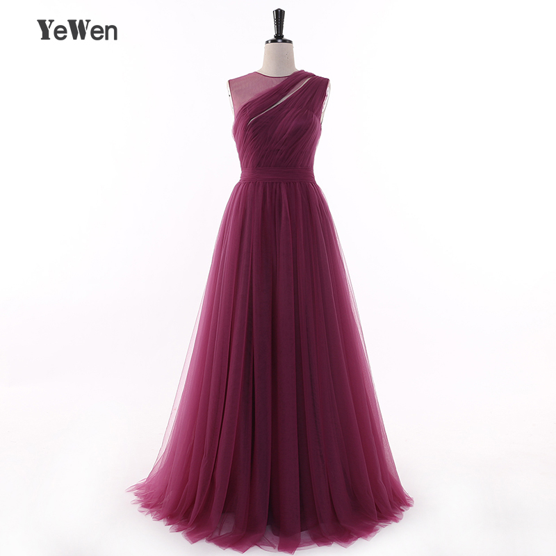 Fashion Sexy Long Evening Dresses 2019 Purple Elegant Floor length Illusion Back A Line Tulle Party Prom Dress Evening Dress