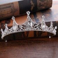 New Baroque Luxury Crystal White Bridal Crown Tiaras Gold Diadem Tiaras For Women Bride Wedding Hair