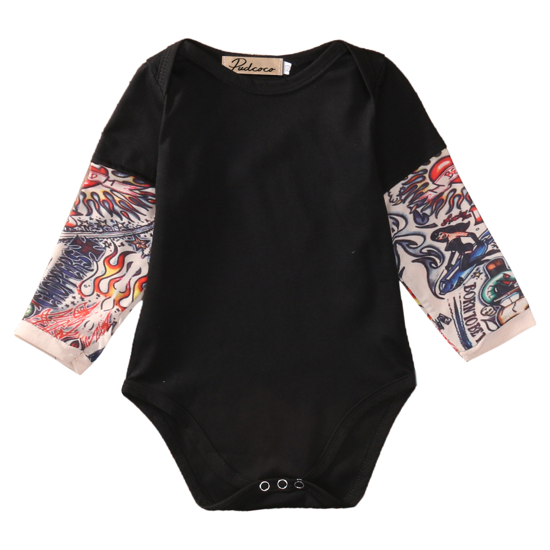 2018 Newborn Infant Baby Boy   Romper   Baby Cotton Clothes Tattoo Sleeve Jumpsuit outfits Kids Baby   Rompers   0-18M