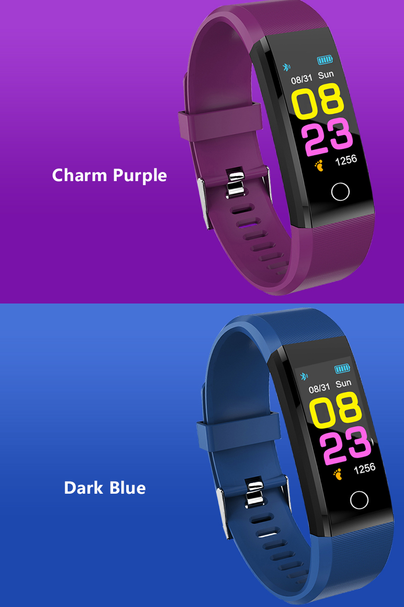 Smart watch man, woman. Heart rate Monitor blood pressure Fitness Tracker sports watch Smartwatch for ios Charm Purple / Dark Blue