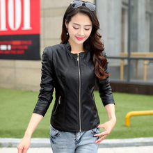 Bust size 112 cm leather clothing female short design slim women's leather jacket stand collar sheepskin leather coat