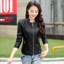 Bust size 112 cm  leather clothing female short design slim women's leather jacket stand collar sheepskin leather coat