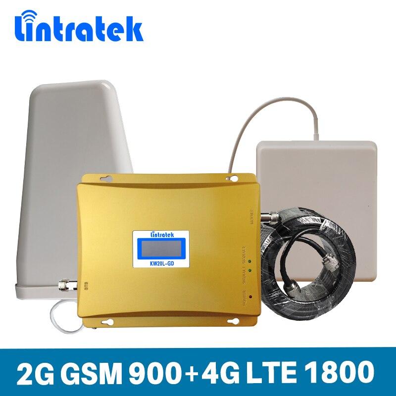Lintratek Gain 65dB amplificateur de Signal de téléphone portable 2G GSM 900 MHz DCS 4G LTE 1800 MHz amplificateur de répéteur de téléphone portable à double bande ensemble @ 6.3