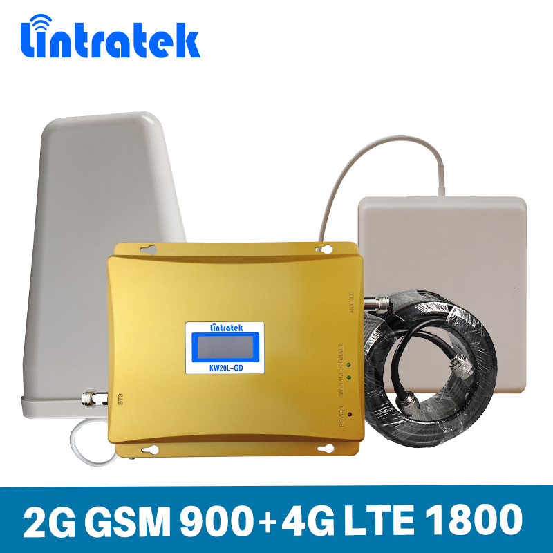 Lintratek Gain 65dB Mobile Phone Signal Booster 2G GSM 900MHz DCS 4G LTE 1800MHz Dual Band Cellphone Repeater Amplifier Set @6.3