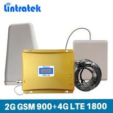 Lintratek ganho 65db impulsionador de sinal do telefone móvel 2g gsm 900 mhz dcs 4g lte 1800 mhz faixa dupla celular repetidor amplificador conjunto @ 6.3