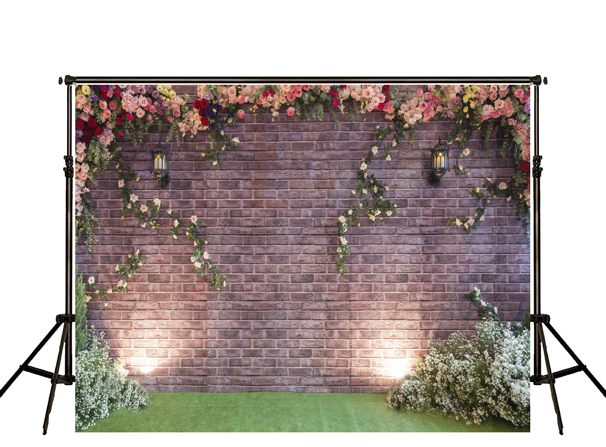 Kate Solid Brick Wall Backdrops Floral Grass Floor Fotografia Backgrounds Garden Backdrop For Photo Studio сумка kate spade new york wkru2816 kate spade hanna