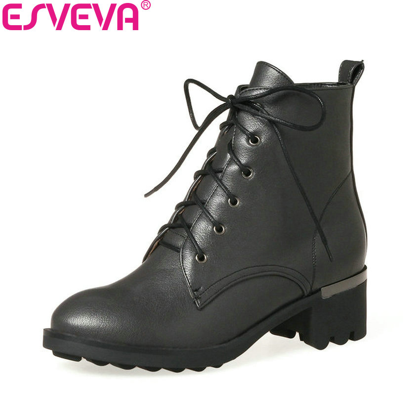 ESVEVA 2018 Classic Women Boots Autumn Western Style Shoes Square Med Heel Lace Up Ankle Boots Round Toe Ladies Boots Size 34-43 цена 2017