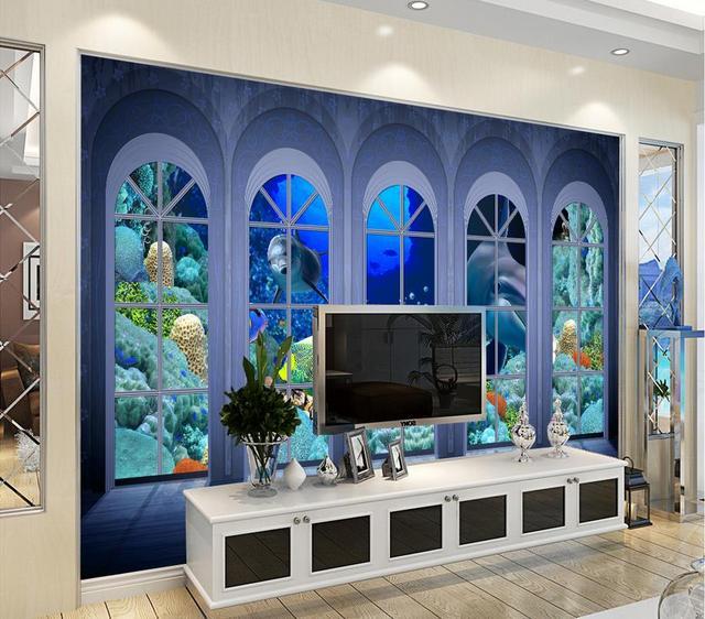 Benutzerdefinierte D Luxus Tapete Unterwasserwelt D Tapete Wohnzimmer Decor Hintergrund Pferd Tapetenwandbilder