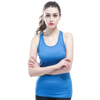 Women Scoop Neck Slim Ribbed Racerback Fitness Sleeveless Shirt Vest Tank Top Stretch Quick Dry Breathable
