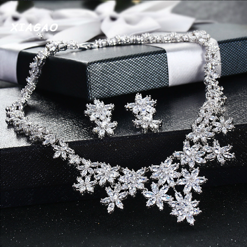 XIAGAO Luxury Bridal CZ Jewelry Sets AAA+ Cubic Zirconia Crystal Wedding Necklace Earrings Accessories For Brides