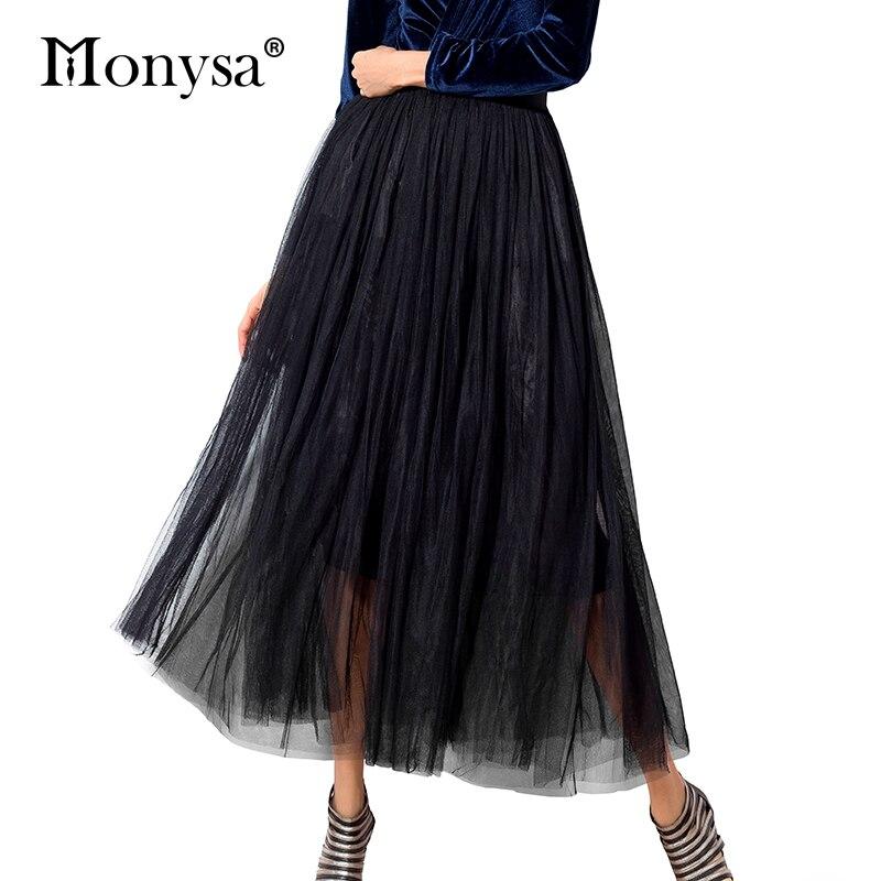 Long Tulle Skirts Womens 2018 New Fashion Elegant High Waist Mesh Pleated Skirt Women Midi Tutu Skirt White Black Gray Clothing|midi tutu skirt|long tulle skirtfashion tulle skirt - AliExpress