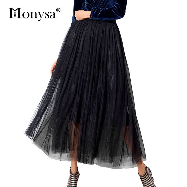 Long Tulle Skirts Womens 2018 New Fashion Elegant High Waist Mesh Pleated Skirt Women Midi Tutu Skirt White Black Gray Clothing