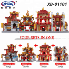 XINGBAO 01101/01102 Chinese Street Series 8 Styles Traditional Architectures Building Blocks City Creator Streetview Bricks Toys