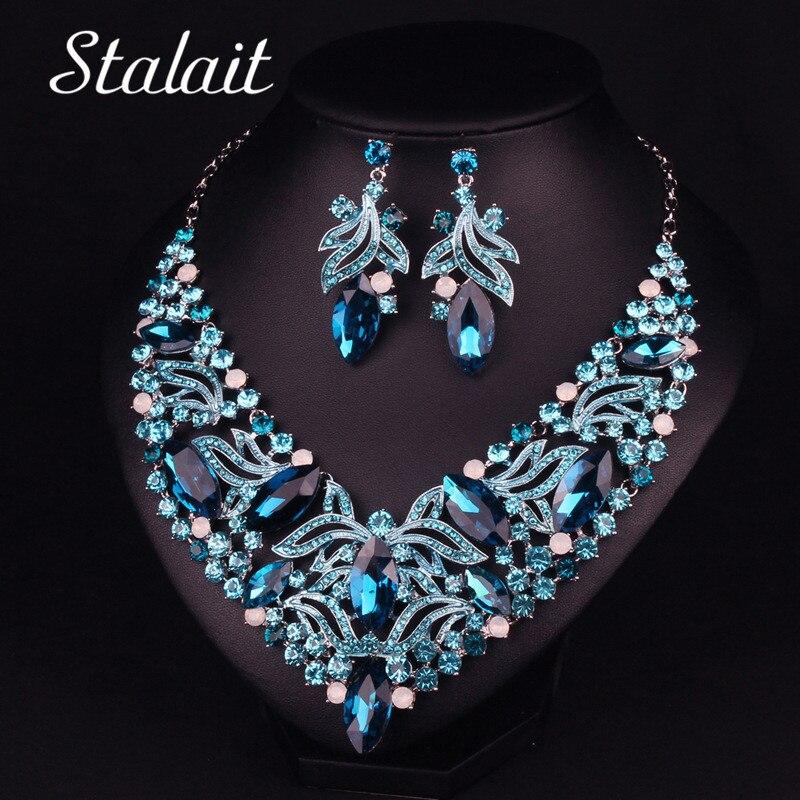 Luxury Women Blue Flower Wedding Bridal Jewelry Set Hollow Leaves Crystal Necklace Earring Jewelry Set все цены