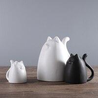 Cute Cartoon Fat Ceramic Maneki Neko Home Decor Crafts Room Decoration Porcelain Animal Figurine Lucky Cat