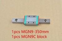 MR9 9 milímetros trilho de guia linear comprimento 350 milímetros com MGN9C MGN9 ou MGN9H bloco linear motion guia linear em miniatura maneira 1 pcs|mgn9|mgn9 350mm|  -