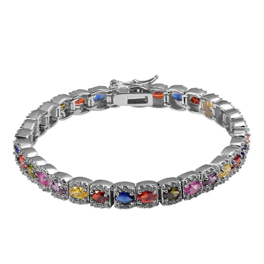 2ec59e044869 Garnet multi color rosa púrpura cristal ZIRCON 925 plata esterlina moda  joyería hermosa pulsera P341