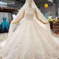 LSS049 плечевой цепи украшают белое свадебное платье o шеи с коротким рукавом невесты свадебные платья 2018 с длинным вуалью бестселлером