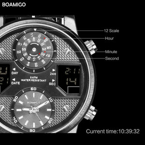 Image 3 - BOAMIGO גברים קוורץ שעונים 3 אזור זמן creative LED דיגיטלי ספורט שעונים זכר עור שעוני יד גבר שעון Relogio Masculino