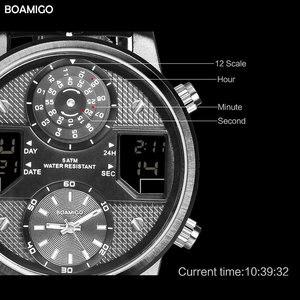 Image 3 - Boamigo 남자 쿼츠 시계 3 시간대 크리 에이 티브 led 디지털 스포츠 시계 남성 가죽 손목 시계 남자 시계 relogio masculino