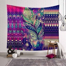 Hippie Purple Tapestry Wall Hanging Sparkling Feather Dreamlike Beauty Wall Carpet Rugs Dazzling Mandala Decorative Tapestries