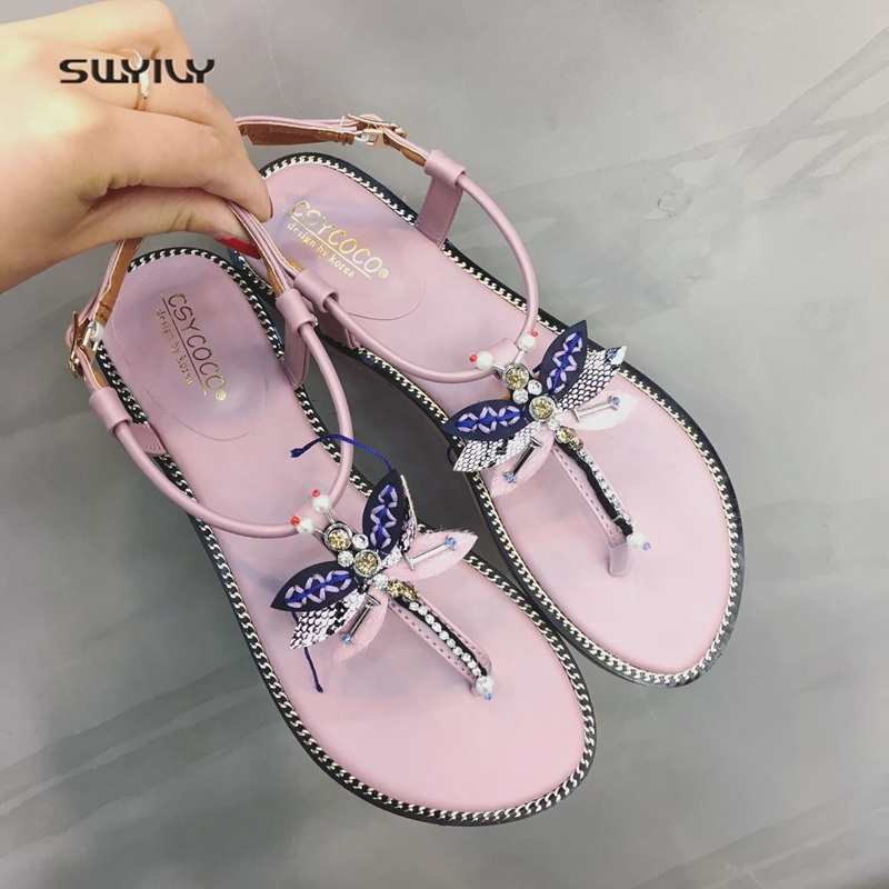 SWYIVY Woman Sandals Flip Flop Summer 2018 Female Bow Rhinstone Flat Bohemian Shoes Lady Comfortable Sandal Shoes Woman Sandals