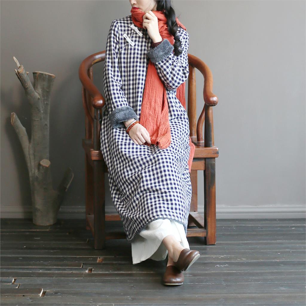 Mandarin D'hiver Noir Laineux 2018 Col Dames Lin Robe Vintage Épais Polaire Plaid Coton Rétro Femmes Chaud pZdwqxfxP