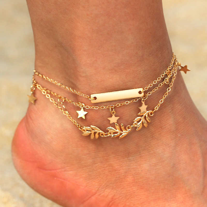 fc3cfc095 ... 2pcs set Star Leave Ankle Bracelet Barefoot Sandals Anklets For Women Beach  Foot Jewelry Gold ...
