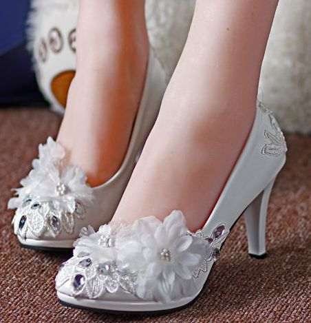 fba146f4f0 US $29.92 32% OFF|Aliexpress.com : Buy 2018 new coming fashion white lace  wedding shoes woman lady women's sweet handmade flowers bridesmaid bridal  ...