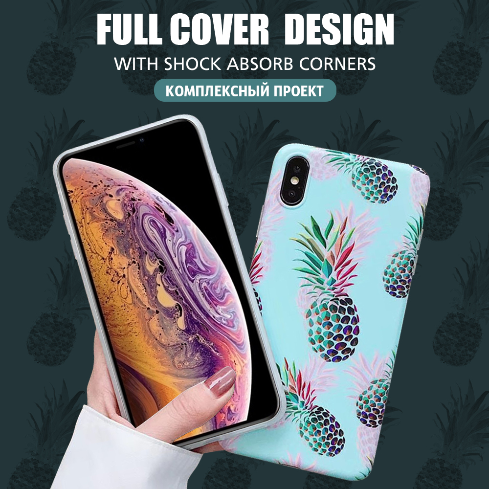 Pohiks For iPhone Xs Max XR X 8 7 6 Plus Glossy Pineapple Design Soft Phone Case Back Cover For iphone 7 8 6 6s plus X XR XS Max in Fitted Cases from Cellphones Telecommunications
