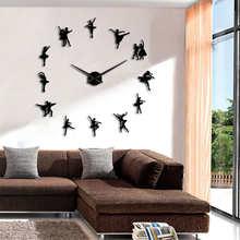 Ballerina 3D Klok Muur Sticker Grote Wandklok Modern Design Frameloze Giant Balletdanser Wall Art Decor Huis Klokken