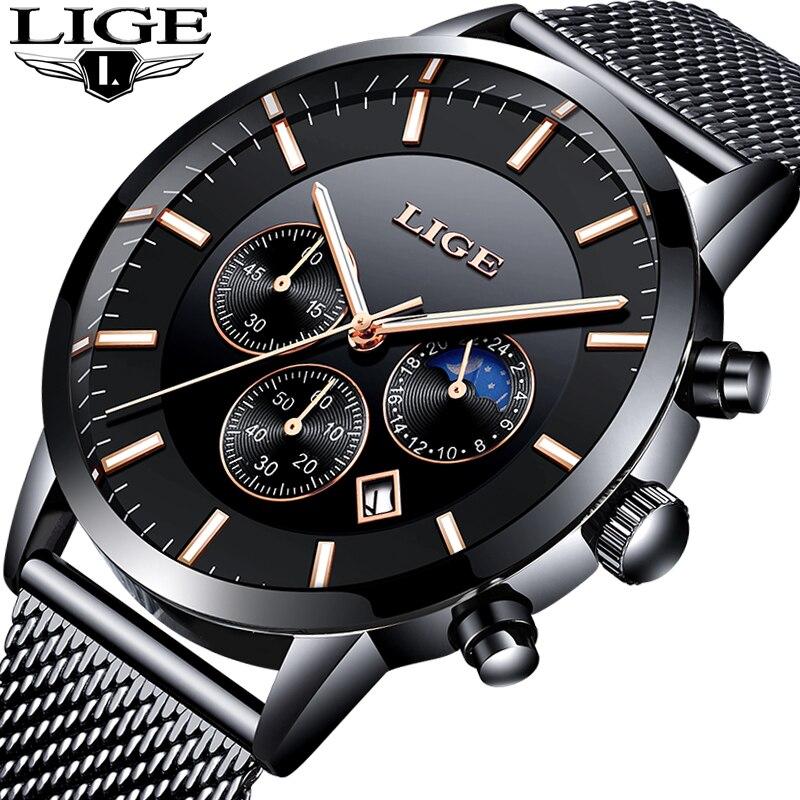ใหม่นาฬิกา Lige บุรุษแบรนด์ธุรกิจหรูหรา Chronograph ชายควอตซ์นาฬิกาผู้ชายแฟชั่นนาฬิกา Relogio Masculino|นาฬิกาควอตซ์|   -
