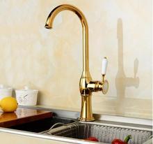 Мода высокое качество золота закончил всего меди однорычажный горячей и холодной кухонный Кран раковина кран