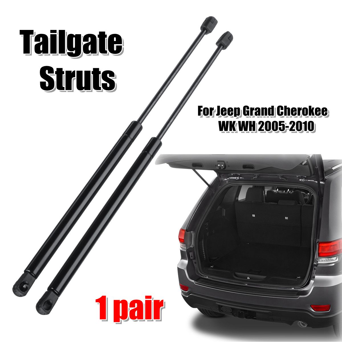 2pcs Rear Tailgate Boot Gas Struts Support For Jeep Grand Cherokee WK WH 2005-2010 68025359AA 55394322AA2pcs Rear Tailgate Boot Gas Struts Support For Jeep Grand Cherokee WK WH 2005-2010 68025359AA 55394322AA