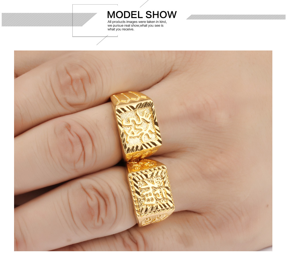 TENGYI Punk Ring Men Gift Wholesale Gold Color 14MM Wide Classic ...
