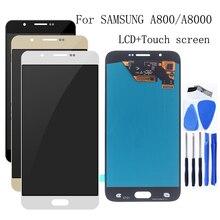"""5.7 """"AMOLED لسامسونج غالاكسي A8 2015 شاشة الكريستال السائل محول الأرقام بشاشة تعمل بلمس اكسسوارات قطع غيار سامسونج A8000 A800 A800F"""