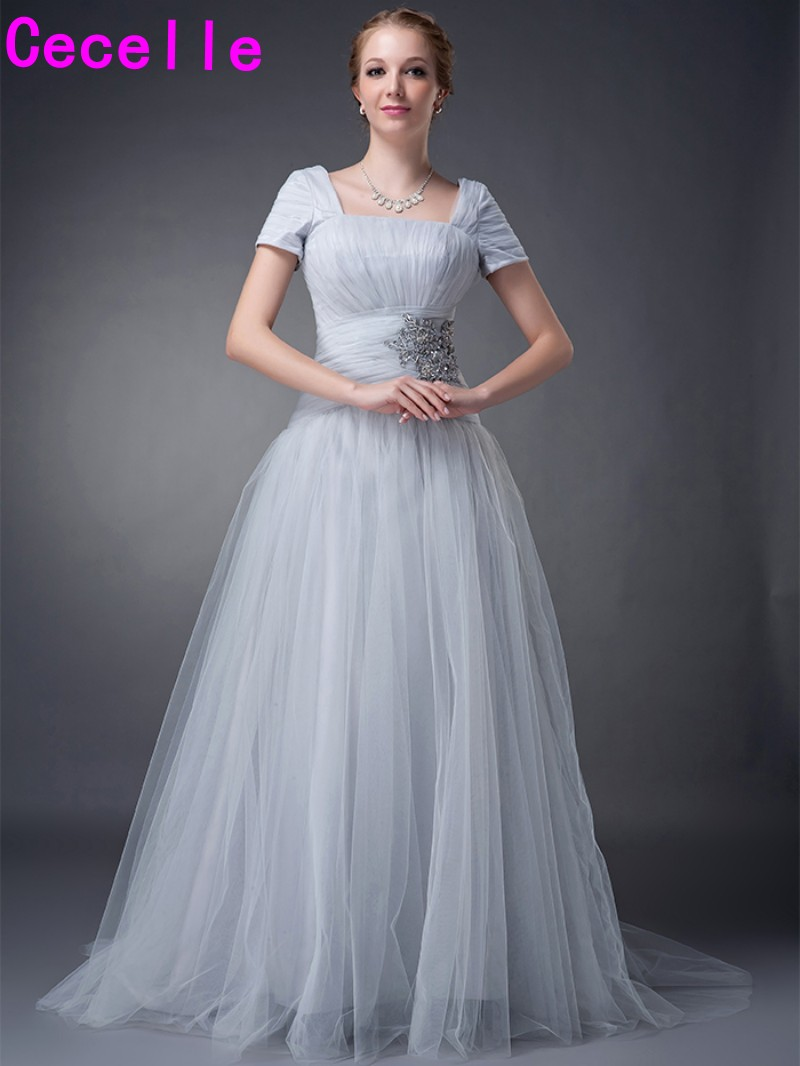 Real Image Silver A-line Tulle Ruched Modest Elegant Mother Of The Bride Dresses With Short Sleeves Wedding Party Dresses Custom