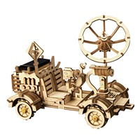 Puzzle 3D Wooden Mechanical Model Solar Powered Lunar Rover Splicing Building Christmas Education Toys Hobbies Anime Figures
