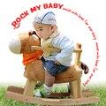 2017 venda limitada unisex 2-4 anos crianças agitar cadeira de balanço de madeira do cavalo do bebê dual-purpose toys com presente do enigma música 0-3years
