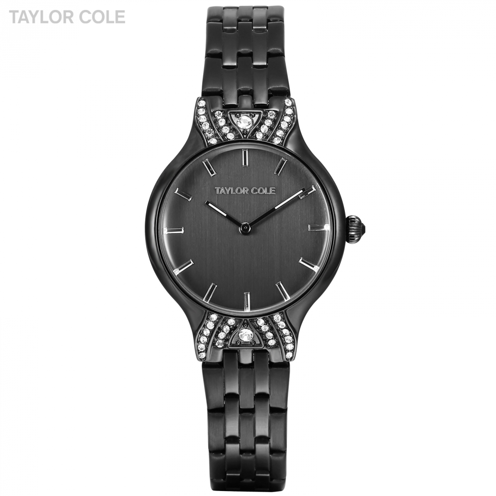 Original Taylor Cole Crystal Watches Lady Dress Full Black Charming Stainless Steel Band Bracelet Quartz Women Watch Gift /TC096 taylor cole relogio tc013