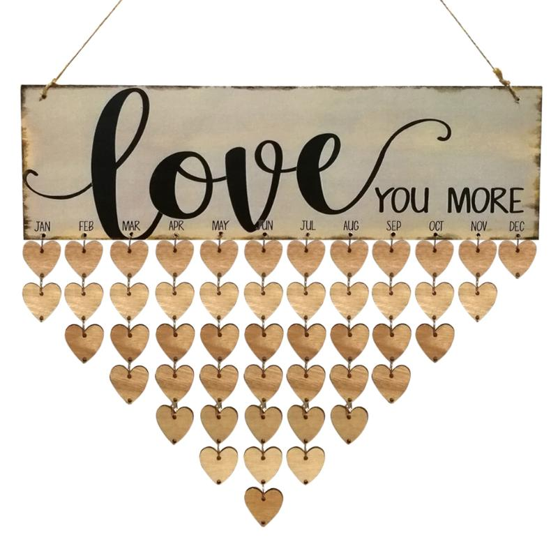 Cute Wooden Love Theme Calendar Board Family Special Date Festival Sign Planner DIY Hanging Decor Plaque Gift Material Escolar