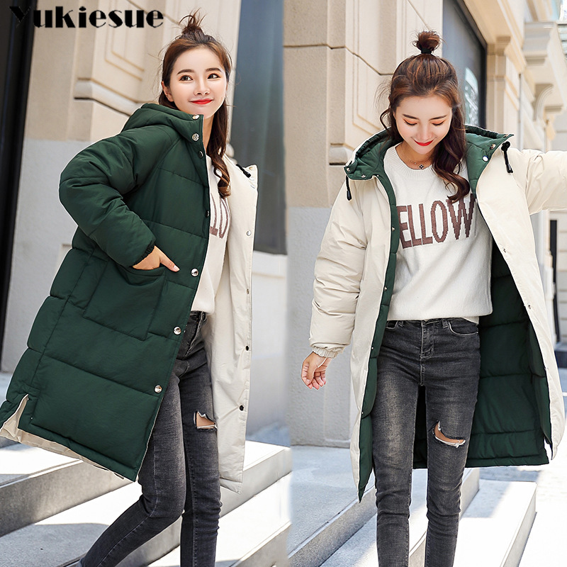 Plus size Winter Jackets Women Embroidery Coats double sided Hooded Down Jacket Warm Long   Parka   Women Thicken Cotton Jackets