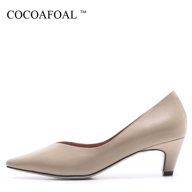 fashion ladies wedding shoes women sexy stiletto pointed toe high heels pumps shoes red black white apricot wine color us8 5 40 COCOAFOAL Woman Pointed Toe Pumps Fashion Apricot Sexy High Heels Shoes Party Shallow Brown Genuine Leather Wedding Pump 2018